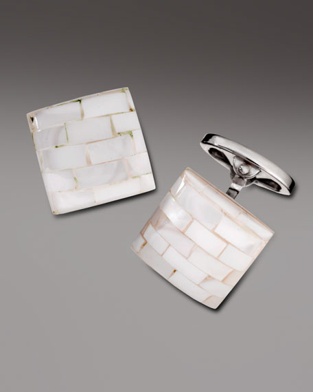 Tiled Mother-of-Pearl Cuff Links, White