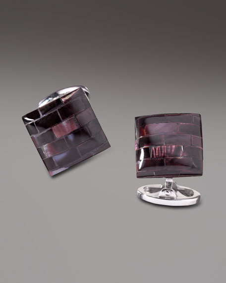 Tiled Mother-of-Pearl Cuff Links, Purple