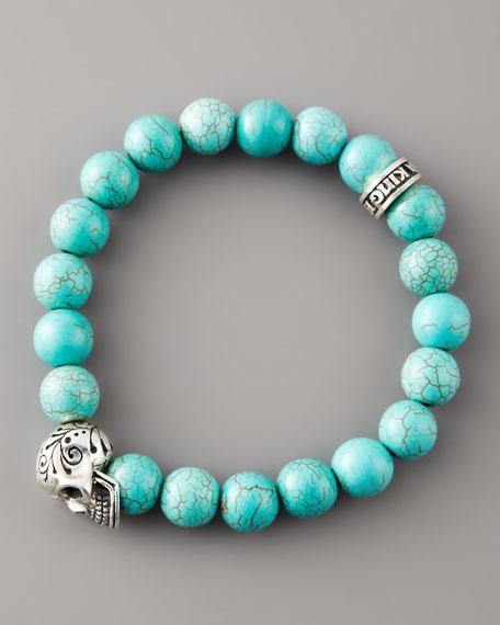 Turquoise Bead Skull Bracelet