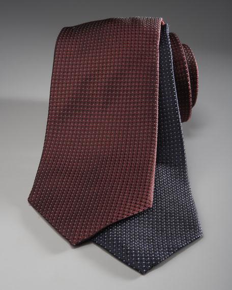 Pin-Dot Silk Tie, Bordeaux