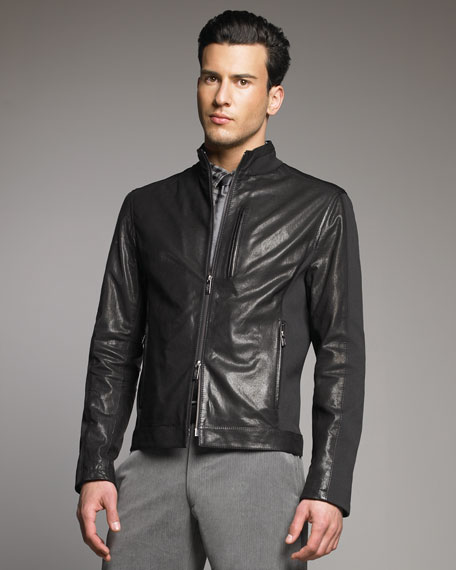 Jersey-Inset Leather Jacket