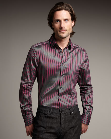 Striped Woven Shirt, Gray-Pink