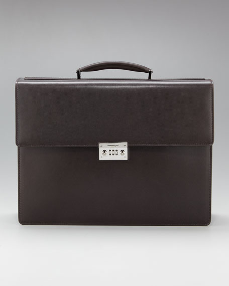 Revival Two-Gusset Briefcase, Hickory