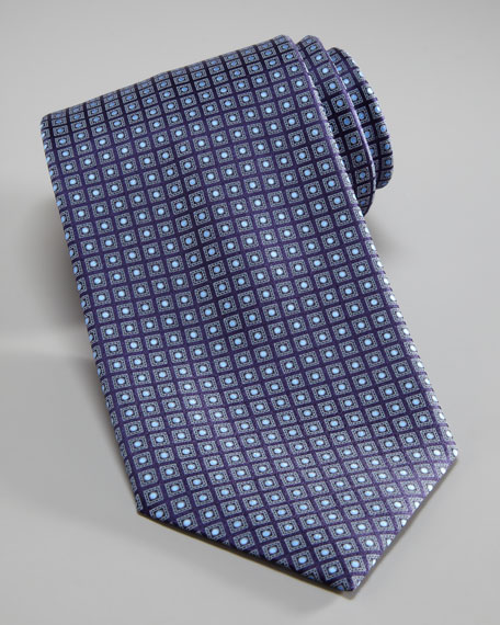Squares & Dots Tie, Navy