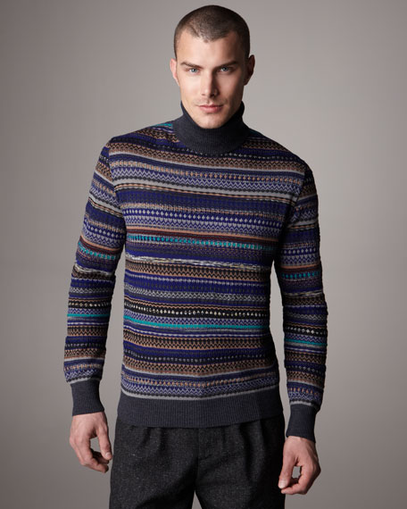 Texture-Stripe Turtleneck Sweater