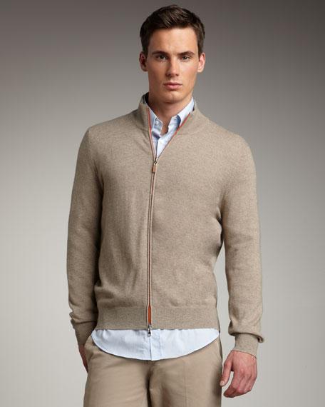Cashmere Zip Sweater, Oatmeal