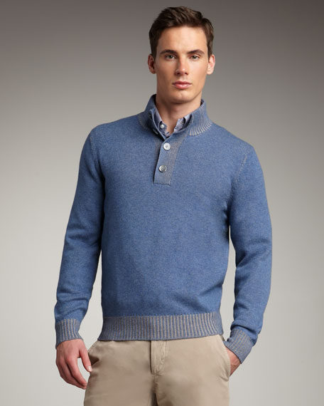 Cashmere Henley Sweater, Blue