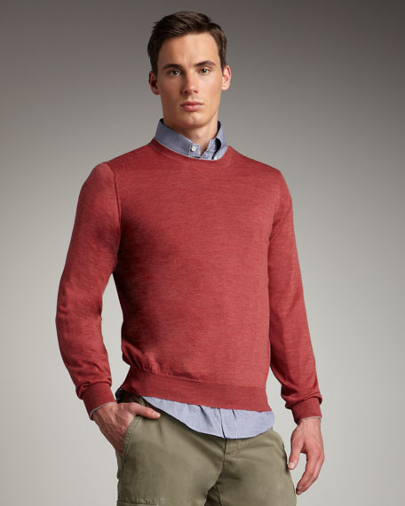 Tipped Crewneck Sweater, Red