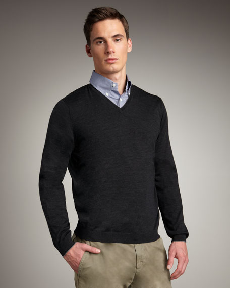 Tipped Crewneck Sweater, Charcoal