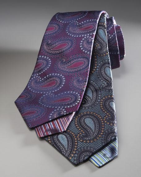 Paisley-Print Tie, Blue
