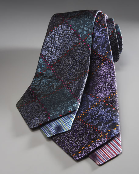 Diagonal Floral Tie, Blue-Green