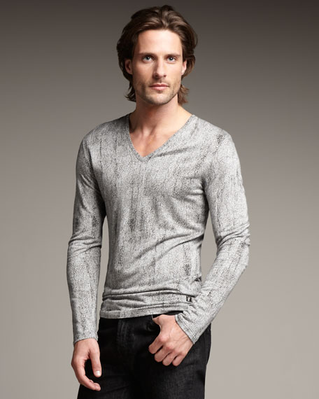 Jacquard-Effect V-Neck Shirt