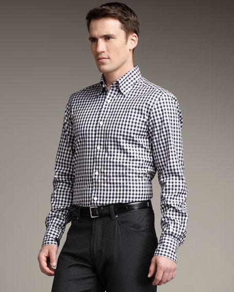 Check Woven Shirt, Navy