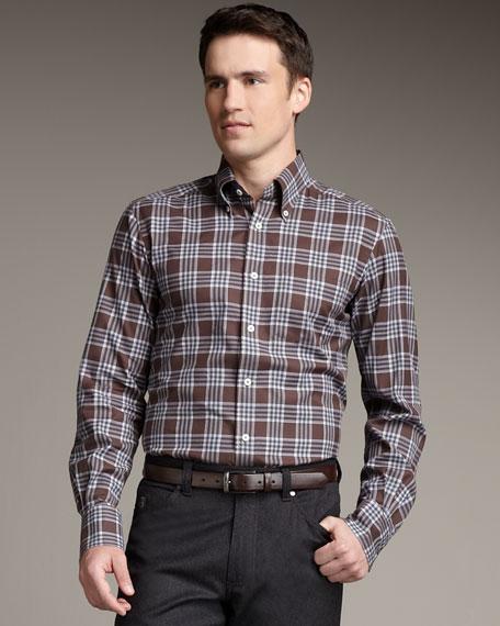 Check Button-Down Shirt, Gray/Black