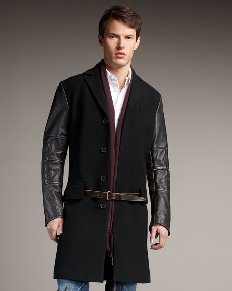 Leather-Sleeve Wool Coat