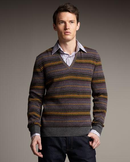 Multi-Stripe Cashmere Sweater, Gray