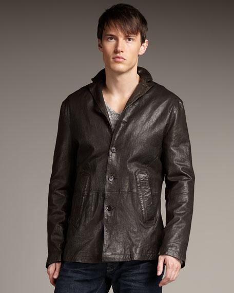 Notch-Lapel Leather Jacket