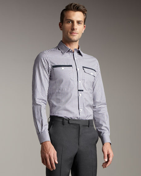 Grosgrain-Trim Woven Shirt
