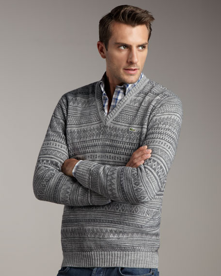 V-Neck Fair Isle Sweater