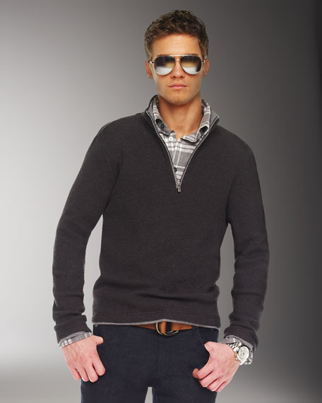 Waffle Double-Layer Half-Zip Sweater, Charcoal