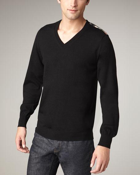 Check-Shoulder Merino Sweater, Black