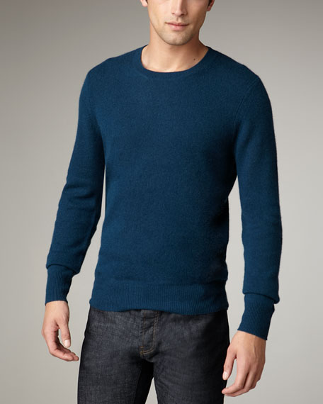 Check-Elbow Cashmere Sweater, Cobalt Turquoise