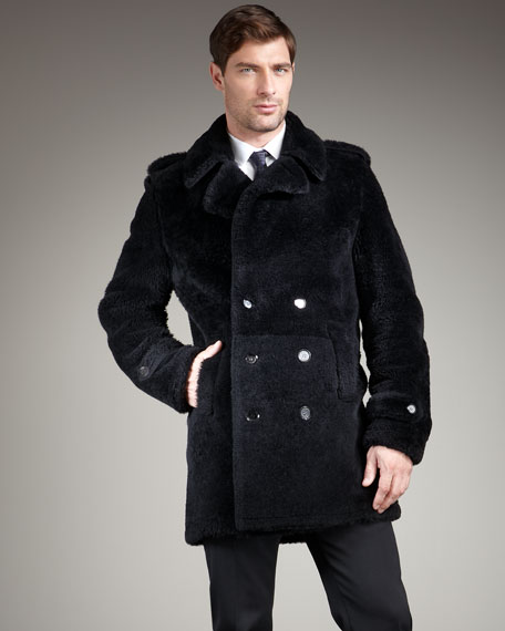 Burberry London Shearling Pea Coat