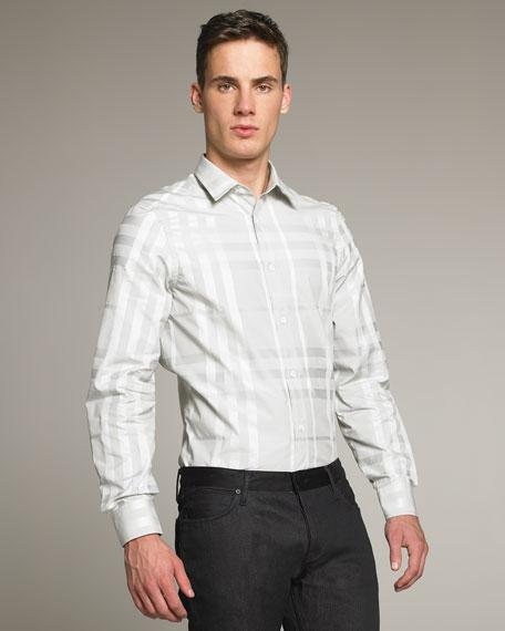 Check Dress Shirt, White