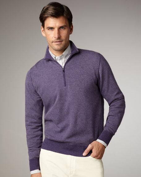 Roadster Cashmere Zip Sweater, Purple