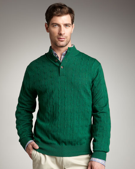 Cable-Knit Henley Sweater, Juniper