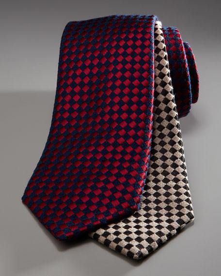 Diagonal Grid Tie, Navy/Red