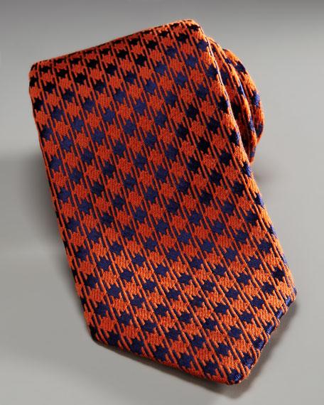 Houndstooth Tie, Orange/Blue
