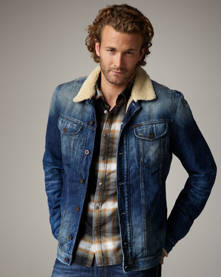 Diesel Faux Fur-Lined Denim Jacket