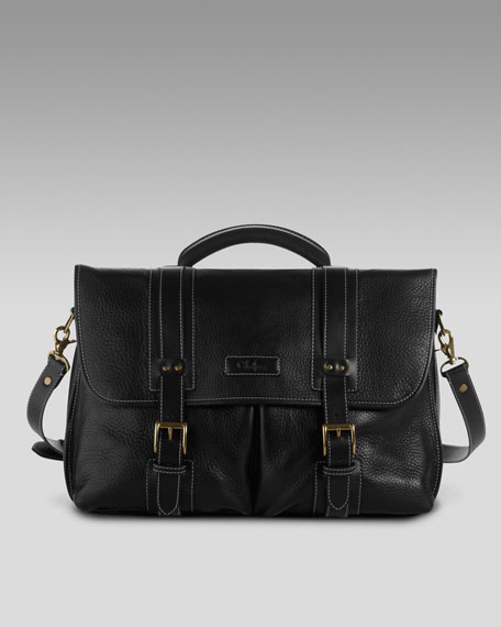 Flap-Top Leather Briefcase, Black