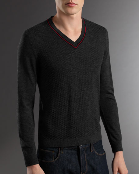 Slim Diamante Sweater, Gray