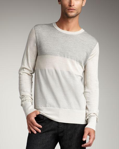 Colorblock Wool Sweater, Beige