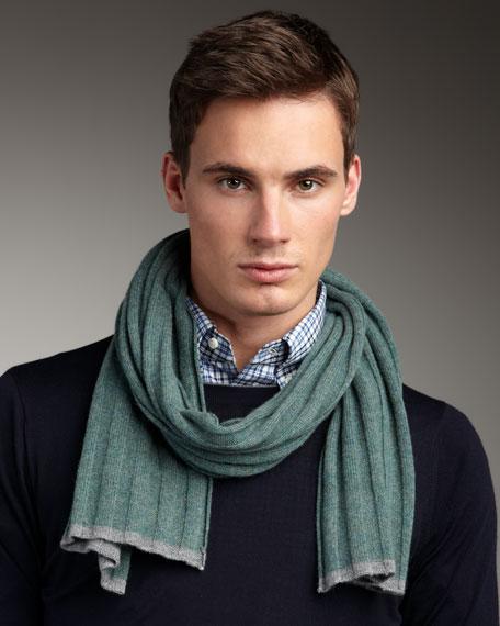 Tipped Rib-Knit Scarf, Green