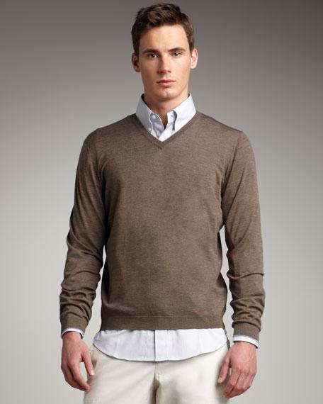 Fine-Gauge V-Neck Sweater, Brown