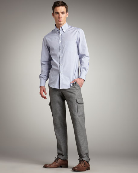 Slim Flannel Cargo Pants
