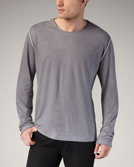 Reverse-Print Long-Sleeve Tee, Light Gray