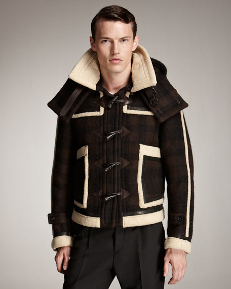 Shearling-Trim Check Blouson Jacket