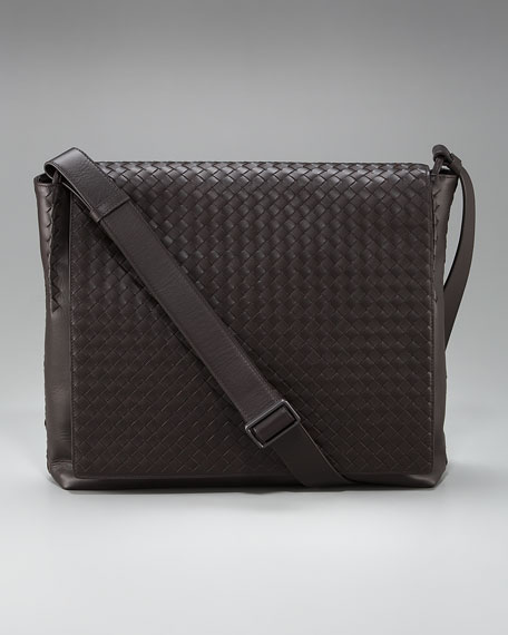Woven Leather Messenger Bag, Brown