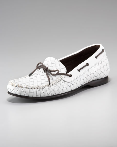 Woven Leather Driver, White