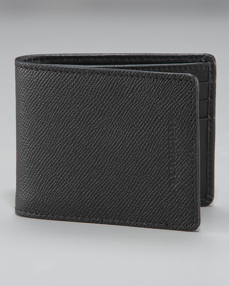 Pebbled Leather Billfold, Small