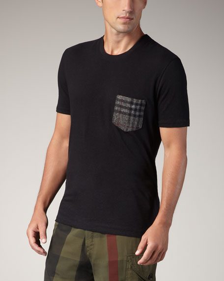 Check-Pocket Tee, Black