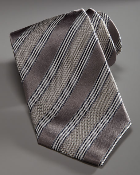 Striped Silk Tie, Silver