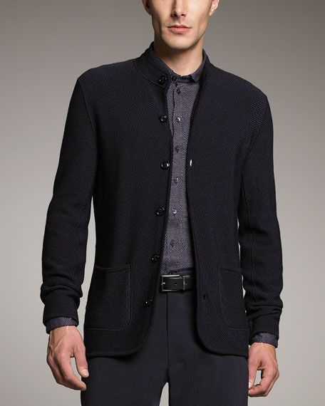 Mandarin-Collar Knit Jacket