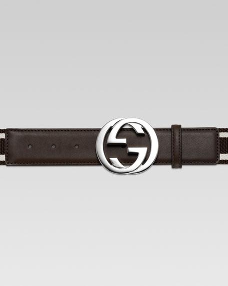 Adjustable G-Buckle Web Belt, Brown