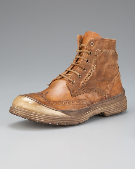 Oswald Distressed Wing-Tip Boot