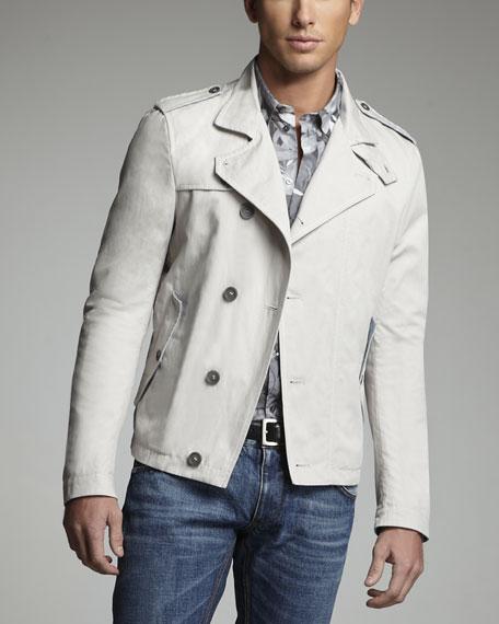 Short Cotton-Linen Pea Coat